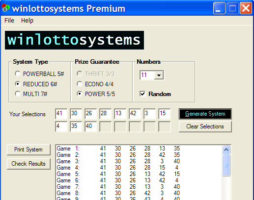 Smart & simple - the main screen of winlottosystems Premium software...